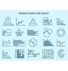 Business charts line icons vector