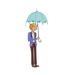 Close-up of boy holding umbrella vector
