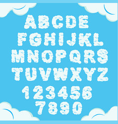 Cloud font sky alphabet cloudy chubby letters vector