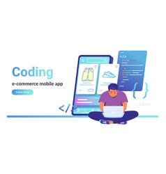 Coding e-commerce mobile app for online store vector