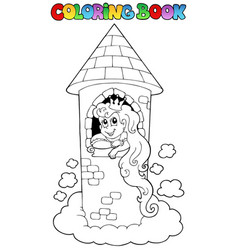 coloring book princess theme 1 vector image
