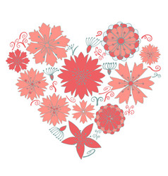 cute flower elements in the heart form vector image