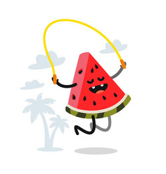 Cute watermelon jumping rope outdoor vector