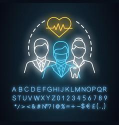 Doctors healthcare neon light concept icon vector