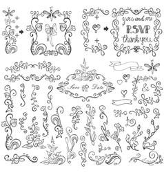 Doodles floral decor setBorderselementsFrame vector image