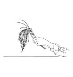 draw a continuous line hand woman farmer vector image