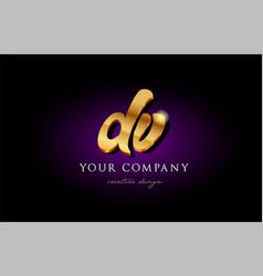 Dv d v 3d gold golden alphabet letter metal logo vector