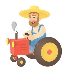 Farmer on tractor icon flat style vector