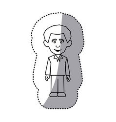 Figure man with casual cloth icon vector