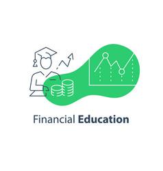 Financial education concept stock market analysis vector