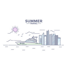flat line design hero image- summer vector image