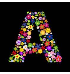 Flower font letter vector
