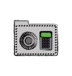 Folder password keypad security vector