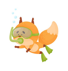 Fox wearing diving suit snorkeling underwater vector