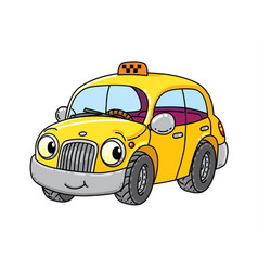 Funny small taxi car with eyes vector