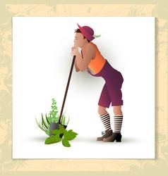 gardener with a shovel vector image vector image