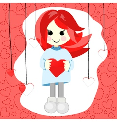 Girl with red hair and heart vector image