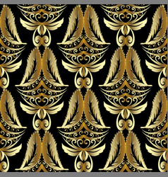 gold 3d damask seamless pattern luxury vintage vector image