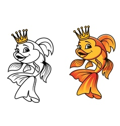 Golden fish in cartoon style vector image