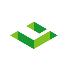 Green 3d isometric letter u abstract letter u vector