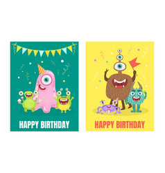 Green and yellow birthday cards with monsters vector
