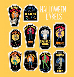 Halloween bottle labels potion labels with vector