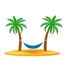Hammock suspended between palm trees stock vector