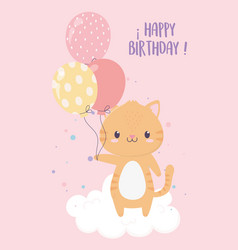 happy birthday cute tiger with balloons party vector image