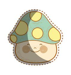 Happy kawaii fungus with cheeks and eyes vector