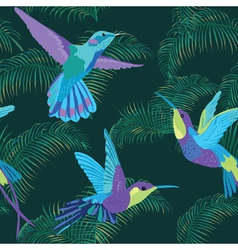 Hummingbird Background - Retro seamless pattern vector