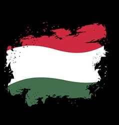 Hungary flag grunge style on black background vector image