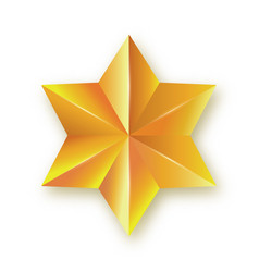 Icon faceted golden star realistic three vector