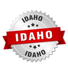 Idaho round silver badge with red ribbon vector