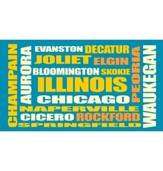Illinois state cities list vector