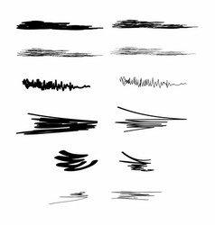 ink brush strokes set paint spots hand drawn vector image