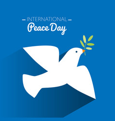 international peace day dove flying and olive vector image