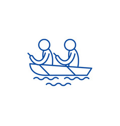 Kayaking line icon concept kayaking flat vector