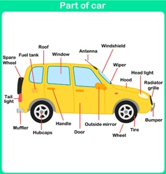 Leaning Parts of car for kids Worksheet vector