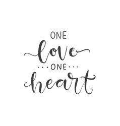 lettering with phrase one love one heart vector image