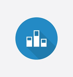 levels Flat Blue Simple Icon with long shadow vector image