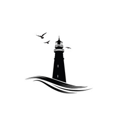 lighthouse logo nautical icon with lighthouse vector image