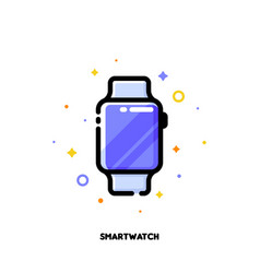line icon of smart watch for gadget concept vector image