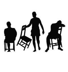 man with chair silhouette vector image
