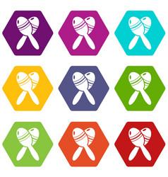 mexican maracas icons set 9 vector image