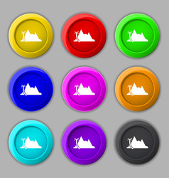 Mirage icon sign symbol on nine round colourful vector