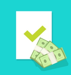 Money lend approval financial document with check vector