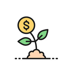 Money tree save money invest flat color vector