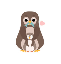 mother penguin and its baby cute birds family vector image