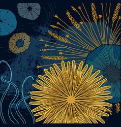 navy yellow floral cosmic print modern design vector image