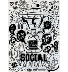 Objects and symbols on social media element vector